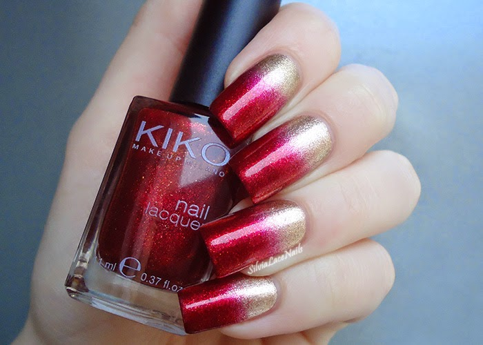 Eccezionale Silvia Lace Nails: Gold and red gradient LJ31