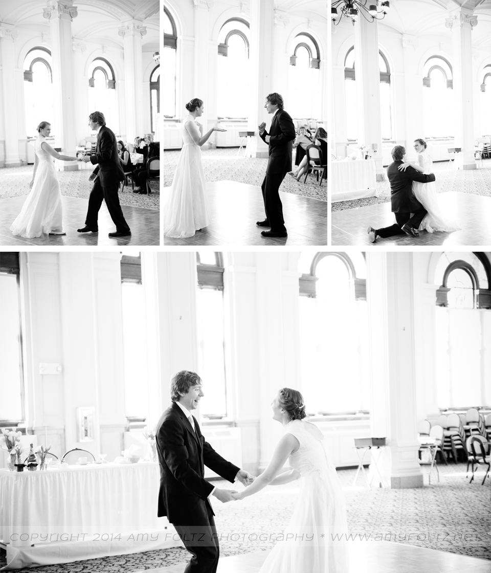 photo of bride and groom's first dance at O'Shaughnessy Ballroom