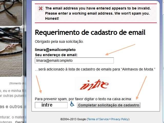 """""""Requerimento de cadastro de email"""" www.alinhavosdemoda.com.br"""