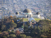 Zoomed-in view south toward Griffith Observatory from the east approach of Mt. Hollywood, Griffith Park