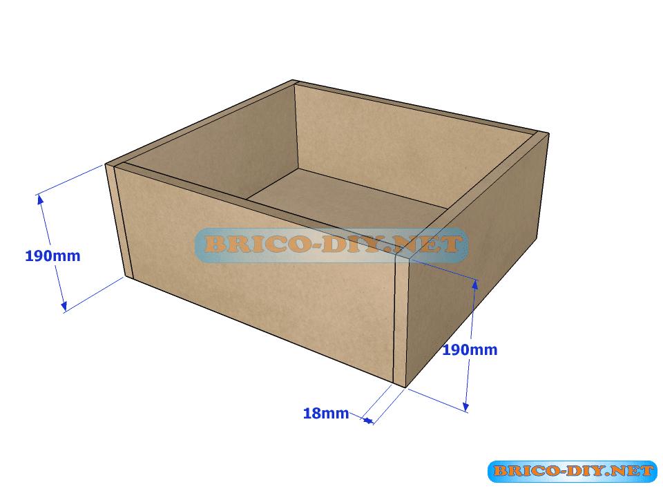 Estructura para la base del cajón de la cómoda de mdf
