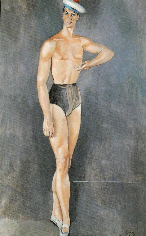 PRUNA, Pedro. Pintura retratando Serge Lifar, usando a boina de marinheiro, figurino do balé Os Tri