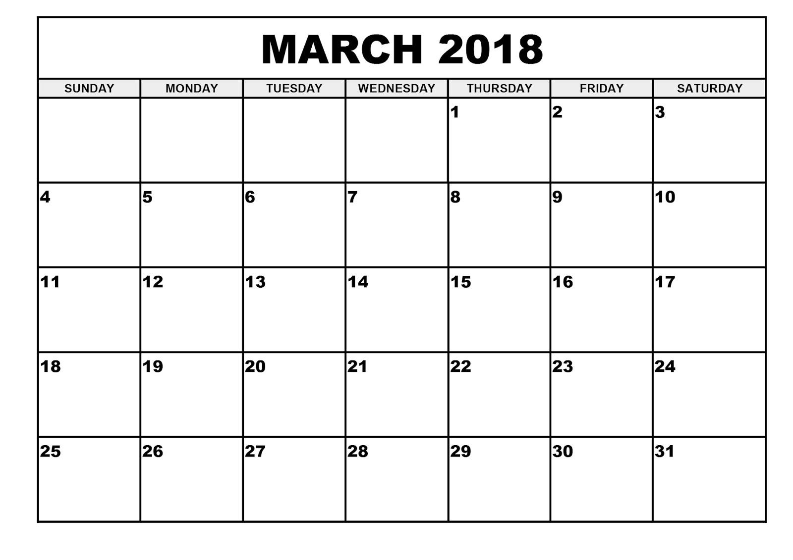 March 2018 Printable Calendar Templates