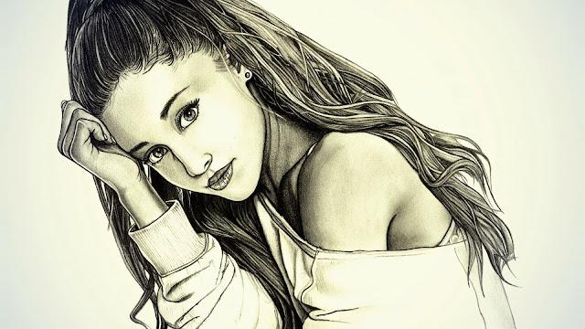 Fondo Retrato Blanco y Negro de Ariana Grande