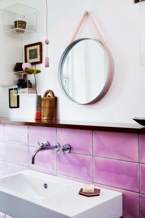 pretty bathroom with Pantone Radiant Orchid tiles