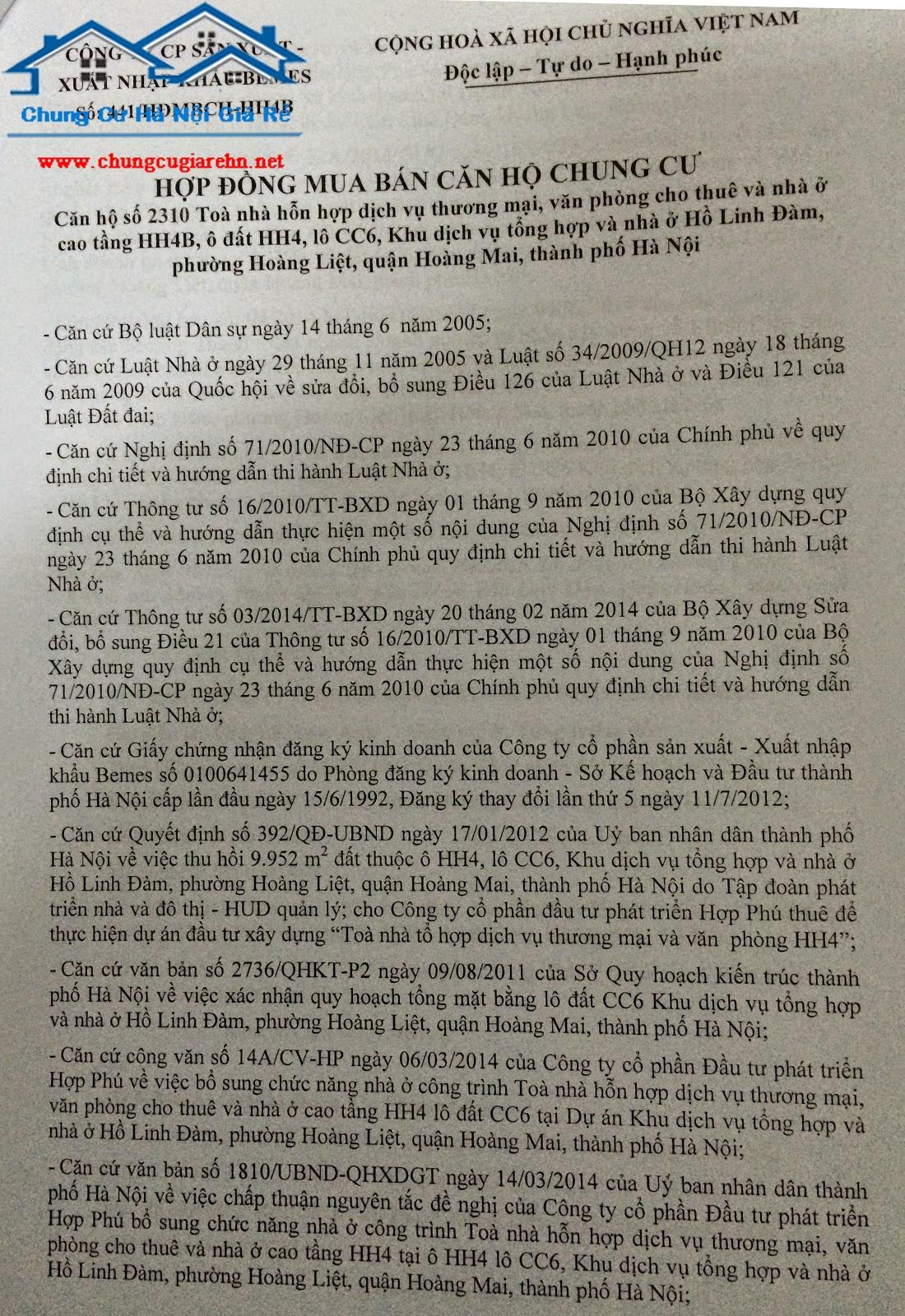 Hợp Đồng Chung cư HH1, HH4, HH2, HH3 Linh Đàm