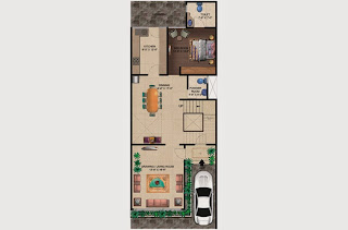 Czar Villas  :: Floor Plans,Type C:-Ground Floor1 Bedroom, 1 Living Room, 2 Toilet, Kitchen, Dining, Court Yard, Car Parking Area - 150 Sq. Yds. (2178 Sq. Ft.)