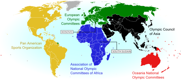 World map showing the five continental associations of National Olympic Committees. Shows all Olympic nations, and labels the two newest as of August 2015, Kosovo and South Sudan.
