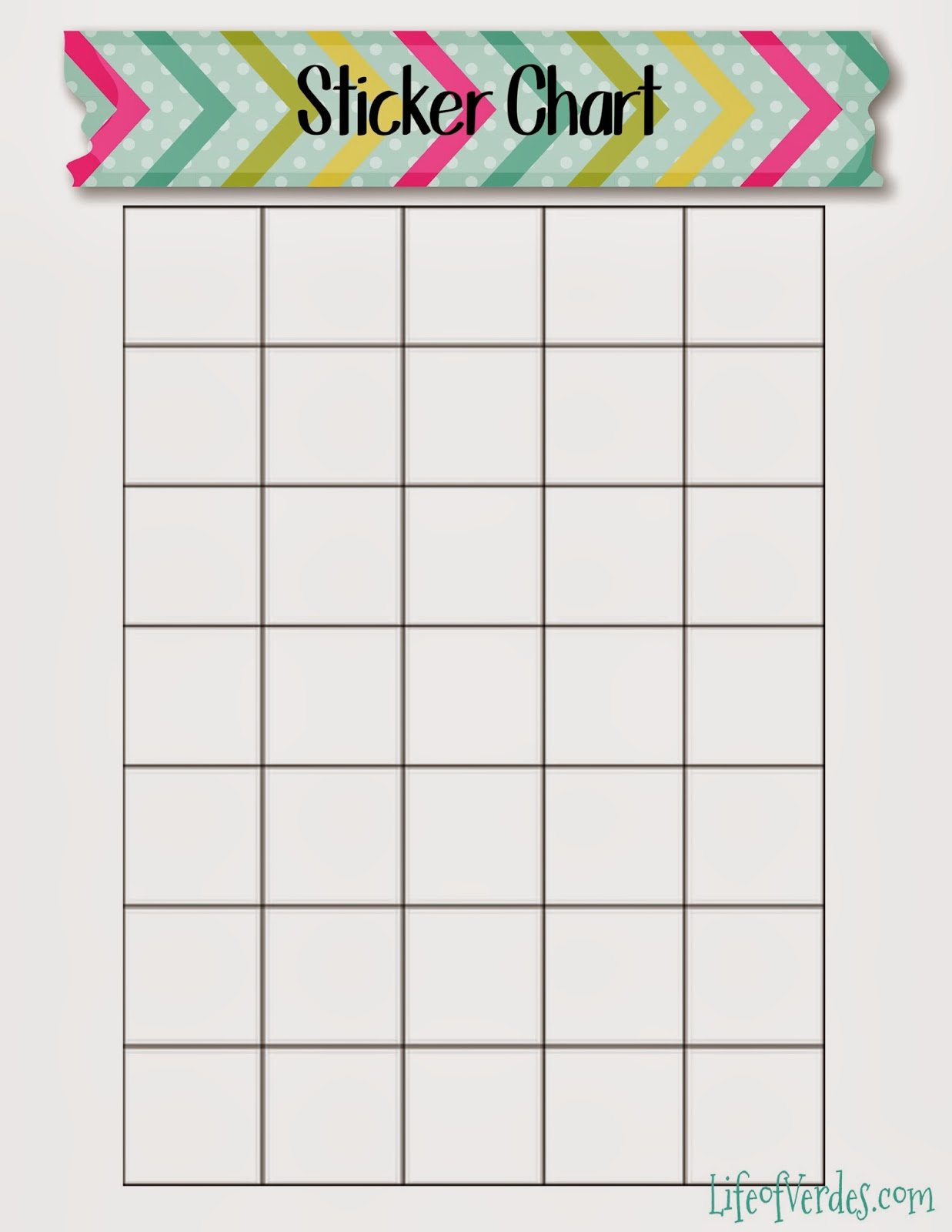 Zany image in printable sticker chart