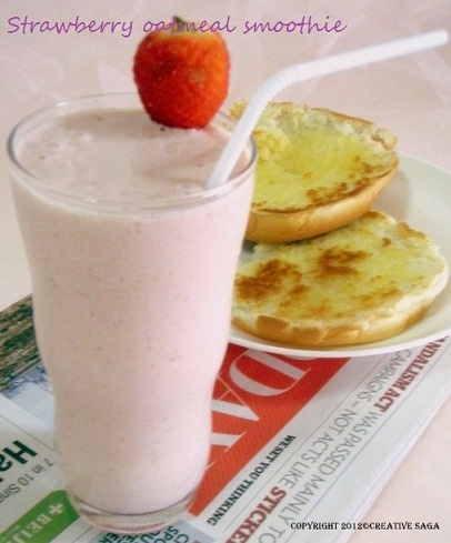 Strawberry oatmeal breakfast smoothie recipe