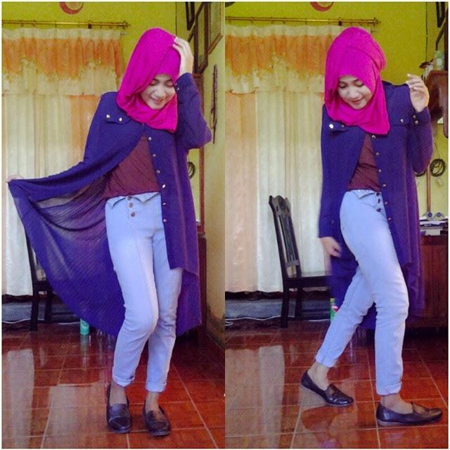 Kombinasi Pakaian Colorfull dengan Jilbab