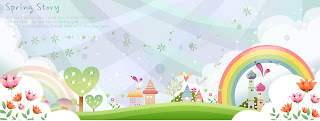 子供が描く春のバナー childrens drawings fantasy spring banners イラスト素材