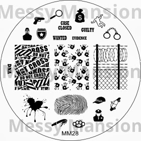 Lacquer Lockdown - Messy Mansion, Messy Mansion MM28, crime scene nail at, crime scene nails, finger priint nail art, crime tape nail art, sherlock holmes nails, sherlock homles, mystery nails, blood splatter nails, wire fence nails, nail art, cool nails, nail art ideas, new plates 2013, new stamping plates 2013, new stamping plates, new plates, bundle monster, konad, easy nail art