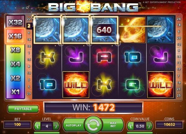 Big Bang er en ny spillemaskin fra Net Entertainment, Big Bang har verdensrommet som tema, wilds og progressiv gevinstmultiplikator som gjør spillet ennå mer interessant og spennende.