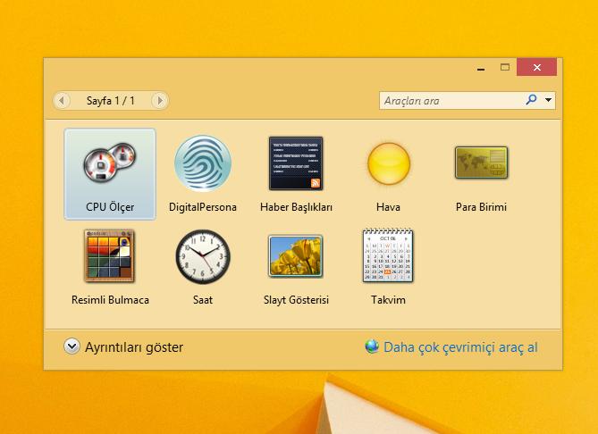 Windows 8.1 Masaüstü araçları