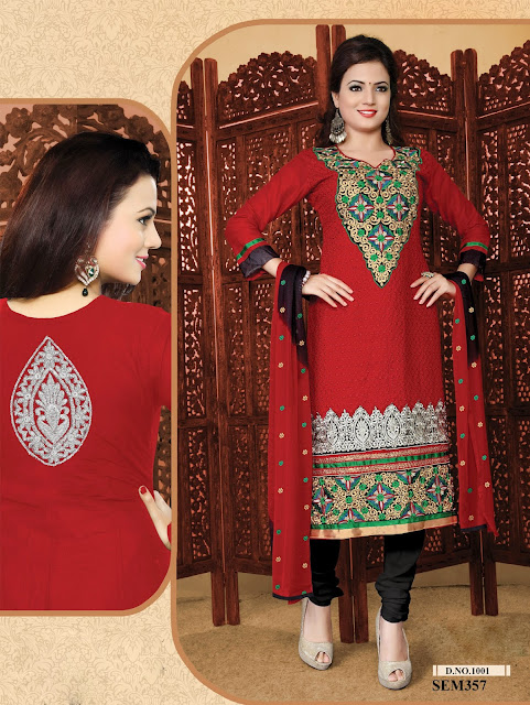 Latest Fashion Embroidery Neck Cotton Salwar Kameez