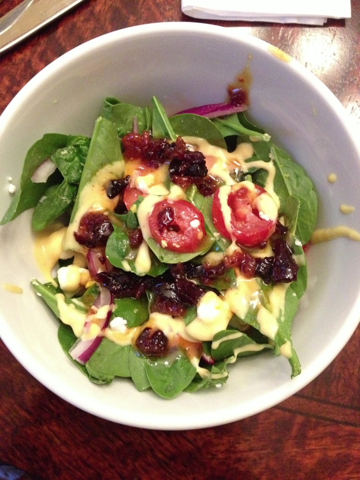 ... bags and dirty diapers: Spinach Salad with Warm Bacon Dressing
