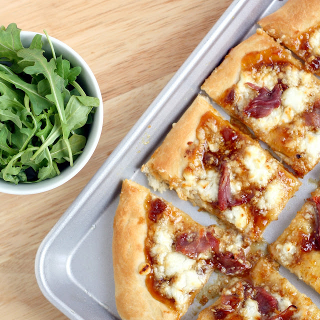 Goat Cheese and Prosciutto Pizza with Fig Jam and Arugula