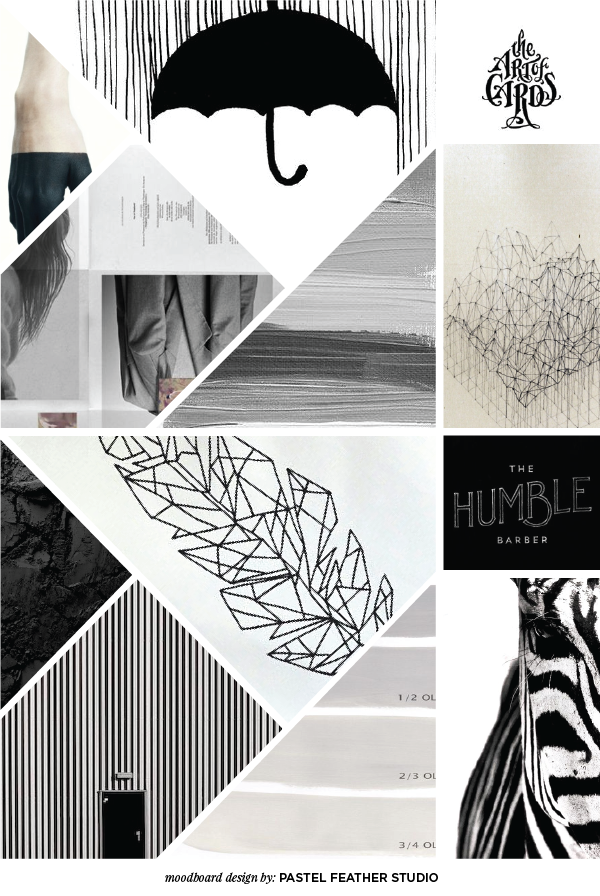 moodboard black and white pastel feather studio