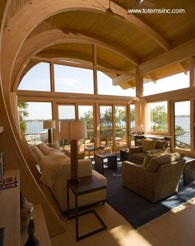 Arquitectura de casas moderna casa de madera y dise o - Madera para techos interiores ...
