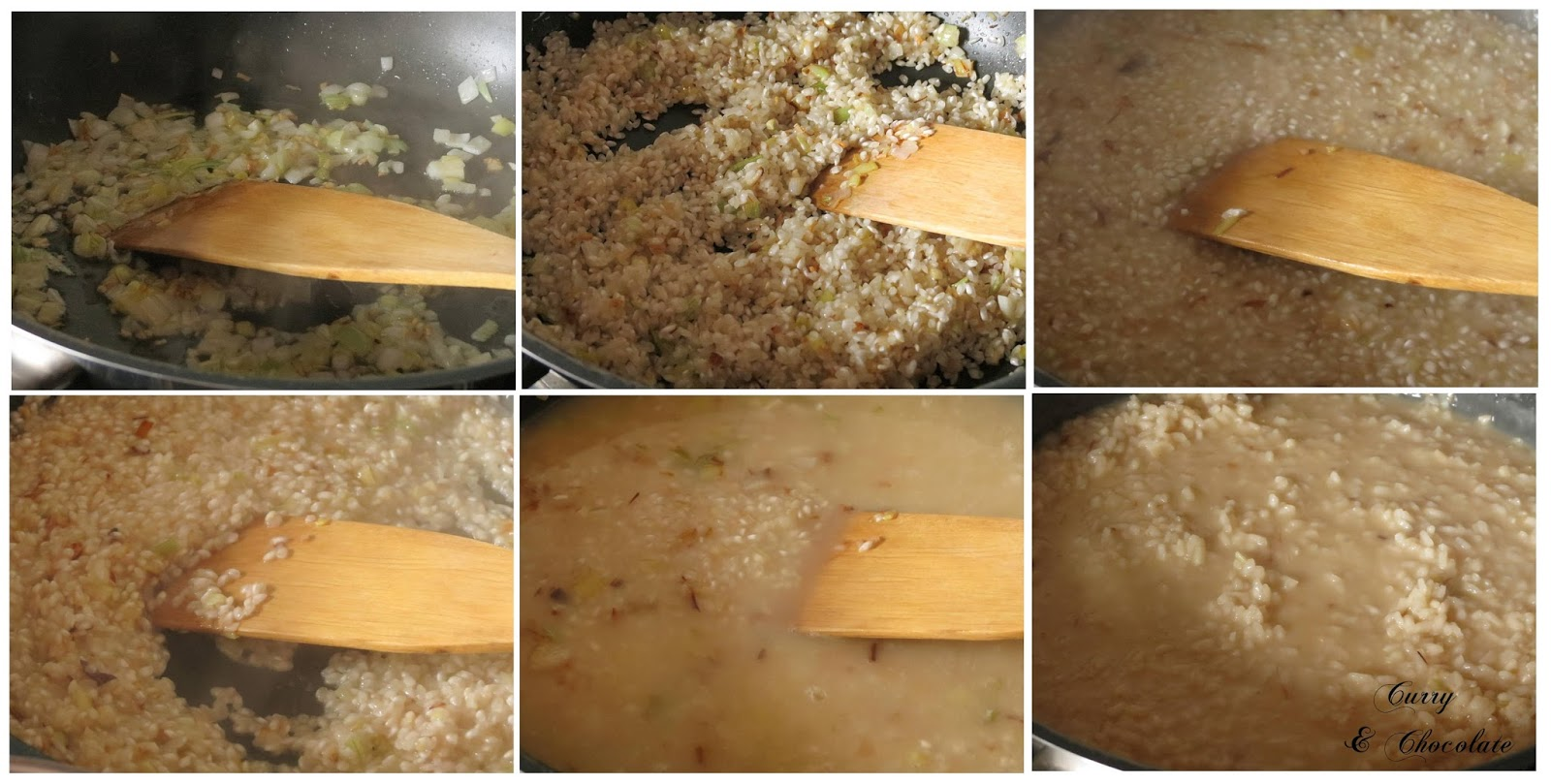 Preparando el risotto de espárragos trigueros