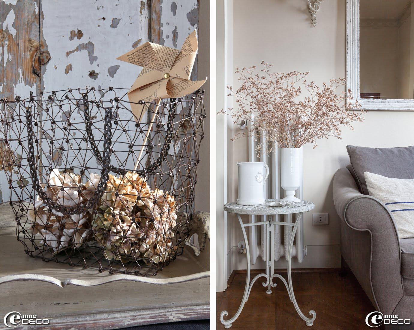 Dans un panier en fil de fer 'Chehoma', des hortensias séchés et un moulin à vent confectionné par Irene, propriétaire de la maison d'hôtes de charme 'Valdirose' près de Florence