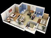 2 Bedroom Apartment Floor Plans 3D