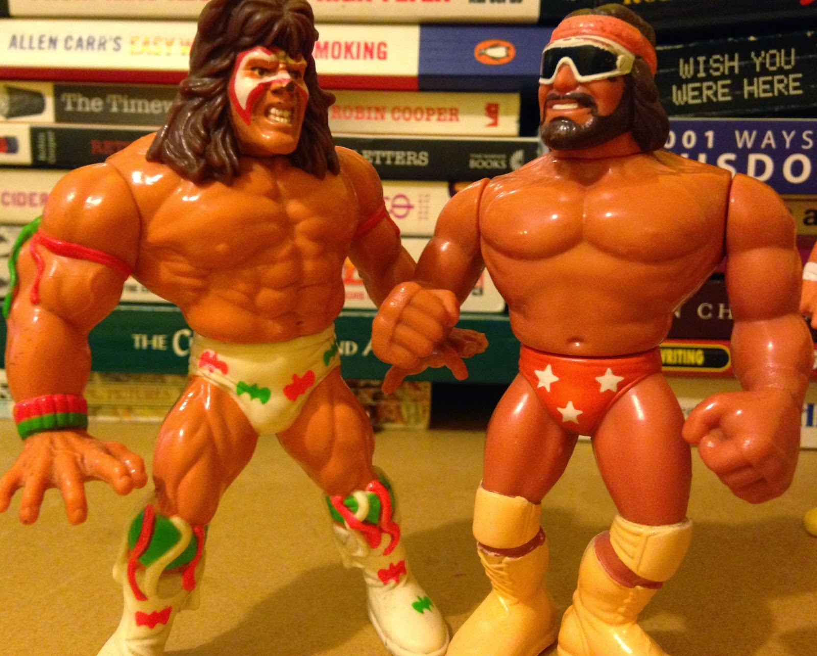 WWF / WWE - Hasbro Wrestling Figures - Macho Man Randy Savage vs.Ultimate Warrior from Wrestlemania 7