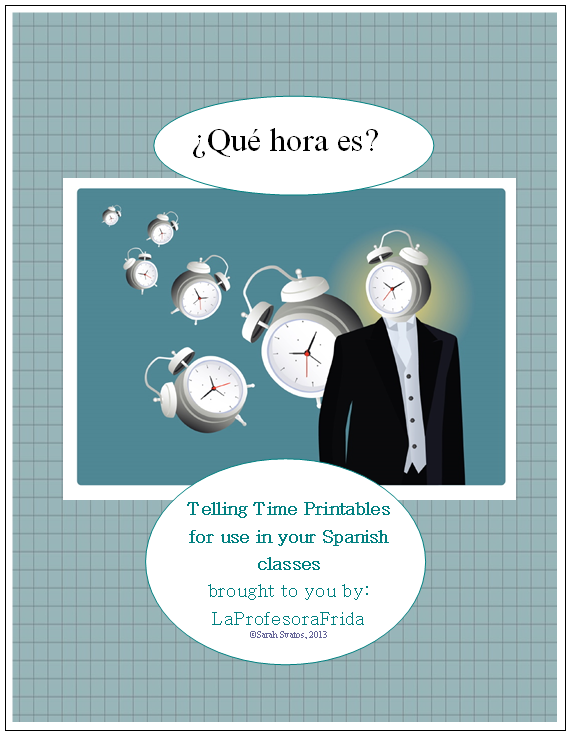 http://www.teacherspayteachers.com/Product/Telling-TIME-in-Spanish-PACKET-of-17-activities-La-Hora-El-Reloj-Los-Numeros-538251