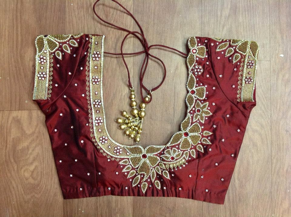 Embroidery And Maggam Blouses Flower Cut Zardosi And Kundan Work