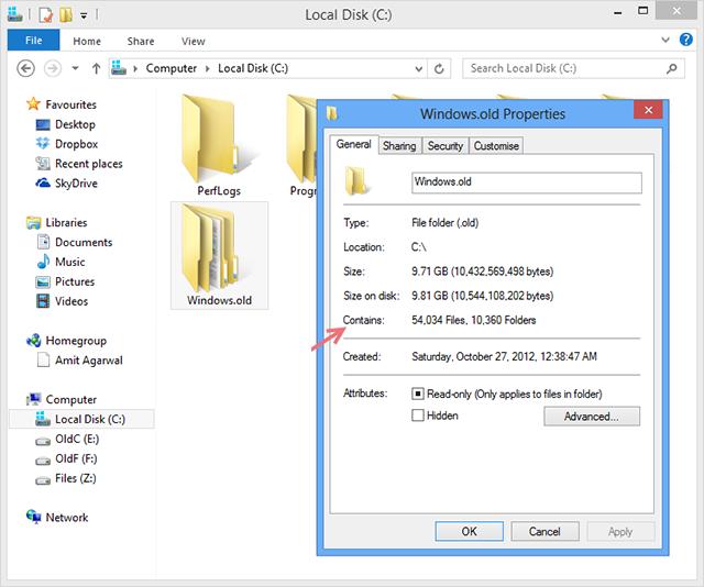 طريقة حذف ملفات الويندوز القديمة بعد الترقية الي ويندوز 8