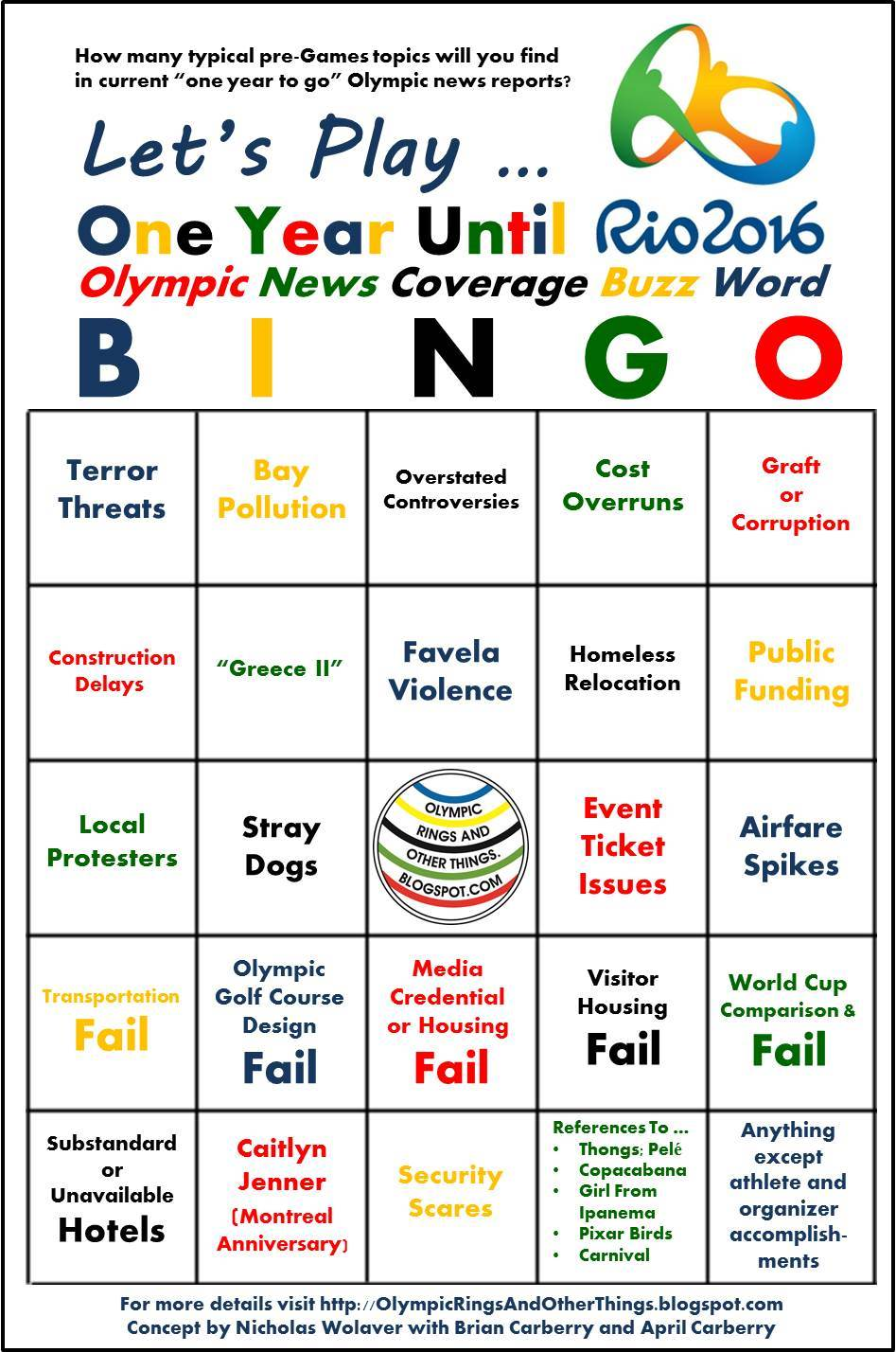 Olympic Rings and Other Things: One Year Until Rio ... BINGO!