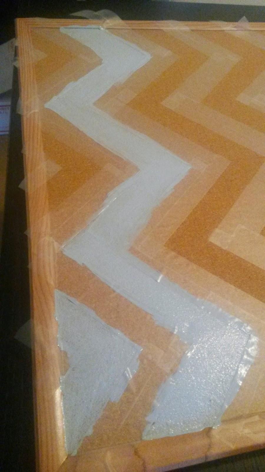 In Progress Chevron Painted Cork Board from The Delightful