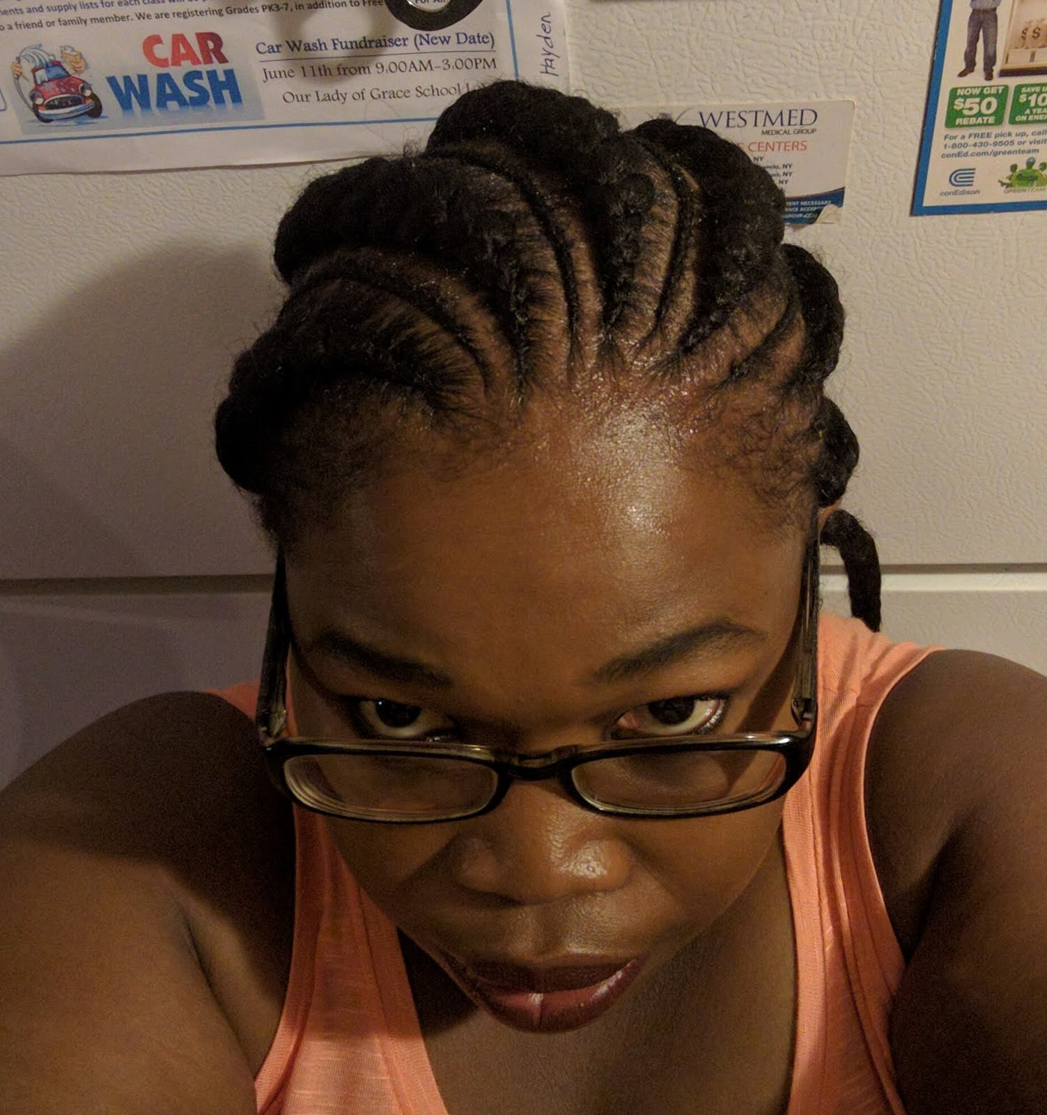 relaxed and healthy i then did three two strand twist in each section and left to dry overnight the next day i went and have cornrow braids install i hope to keep them in for
