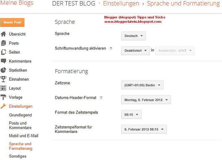 Zeiteinstellung  Uhrzeit Kommentare Blogger Blogspot Blog