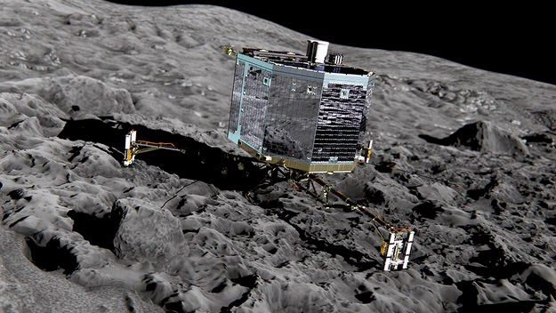 Artist's rendition of Philae on Comet 67P