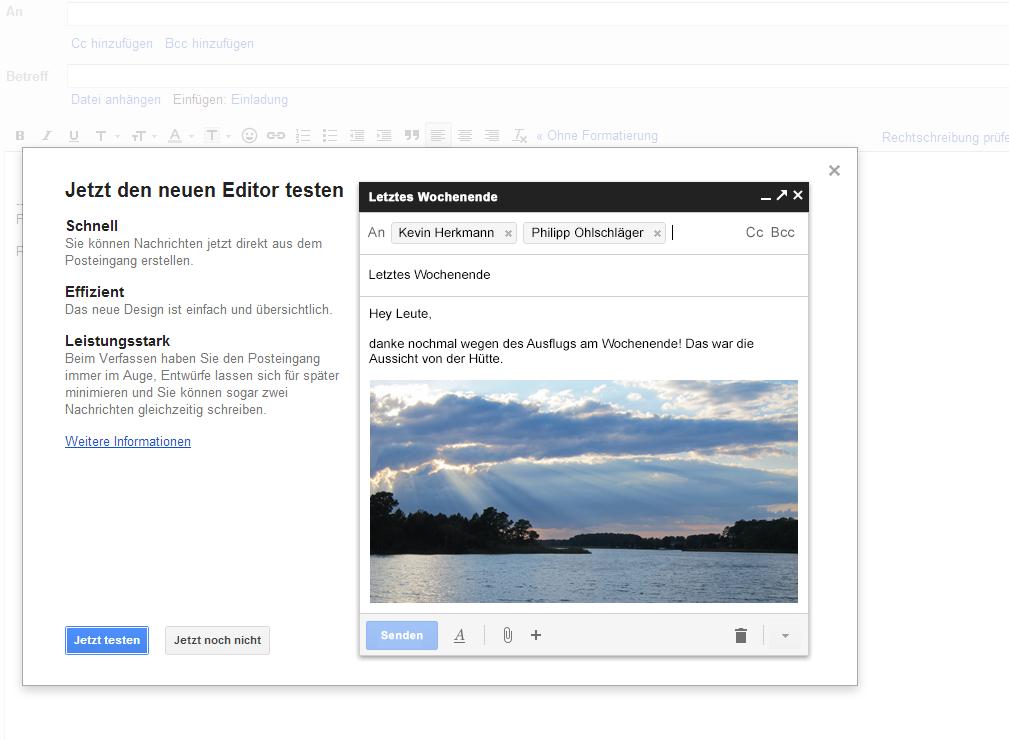 Google-Mail Editor - Noch haben Sie die Wahl