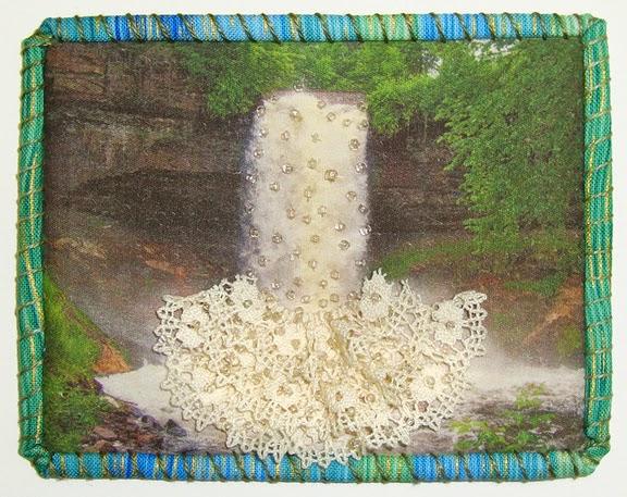 Robin Atkins, Travel Diary quilt, Minnehaha Falls, Minneaoplis, MN