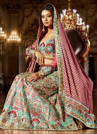bridal work lehenga saree