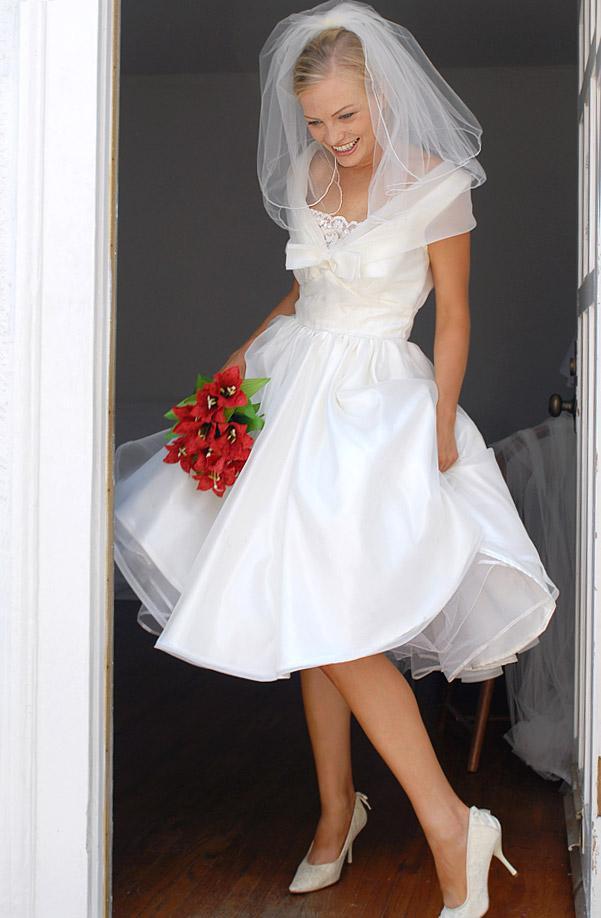 Korte trouwjurk met sluier