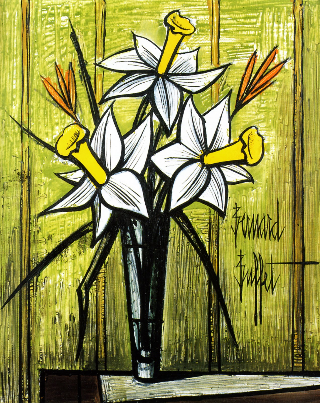 expressionism bernard buffet 39 s flowers art for your wallpaper. Black Bedroom Furniture Sets. Home Design Ideas