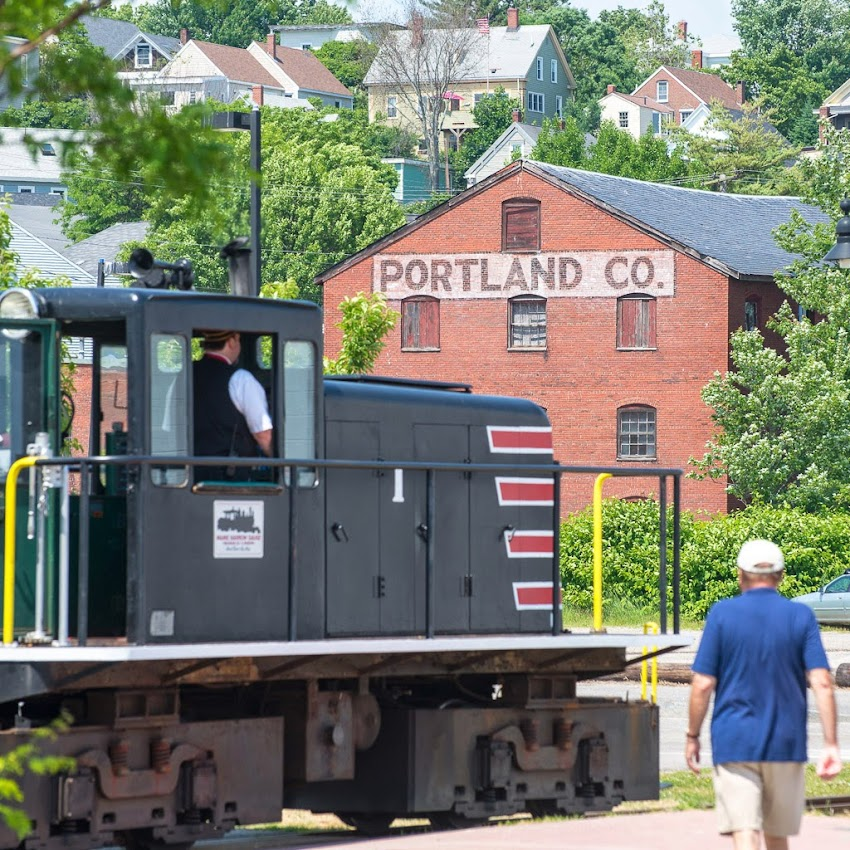 Maine Narrow Gauge Railroad in front of Portland Company Complex Summer June 2014 Photo by Corey Templeton
