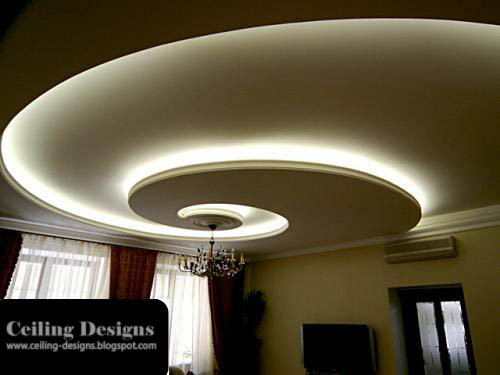 spiral gypsum false ceiling designs for living room
