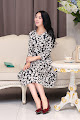 New 2016 Three Quarter Sleeve Floral Print Rayon Silk Cotton Midi Dress