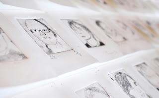 Etchings by School Children, self portrait Art show, Artists, Photographers