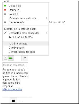 Google Talk. Mensajería Directa. Añadir contacto.