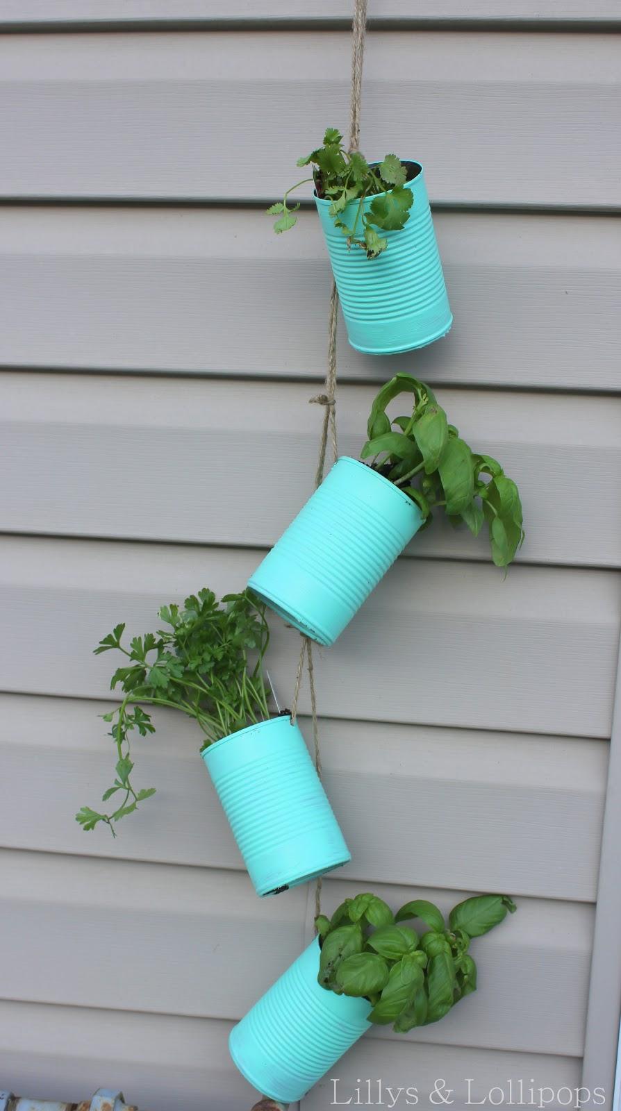 Lillys & Lollipops: Hanging Tin Can Herb Garden