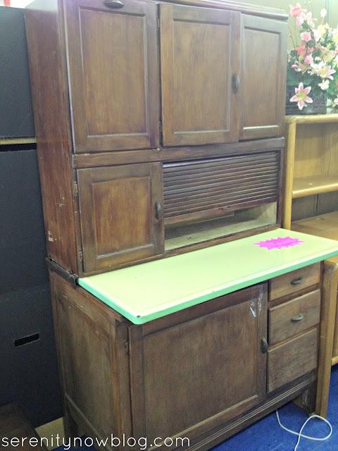 Thrift Store Furniture Makeover Inspiration (Kitchen Storage), via Serenity Now