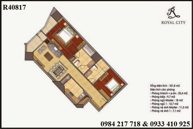 Mua bán chung cư Royal City, căn hộ R40817 Royal City diện tích 101.8 m2 giá tố 4 tỷ 198 triệu