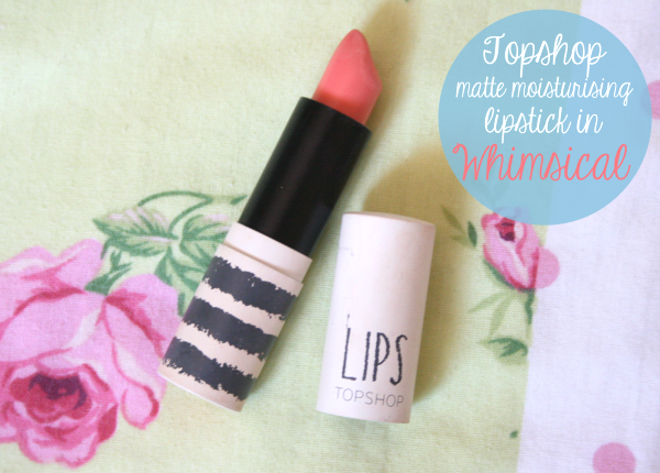 topshop matte moisturising lipstick whimsical review blog coral pink swatch